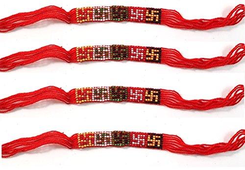 4Stück Rot Schnur/Kalawa, Haridwar Armband mit Om/Aum, für Feng Shui Yoga Gesundheit Reichtum und Glück Religiöse Dekorative indischen Kunsthandwerk