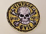 #350 Aged Vintage Evil Speed Parts Gelb 9 cm! Aufkleber KONTURGESCHNITTEN WASCHSTRASSENFEST LAMINIERT UV BESTÄNDIG! Sticker AUTOCOLLANT!