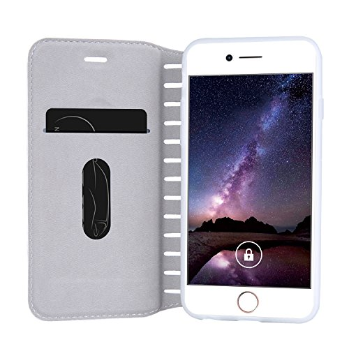 iPhone 7 Coque Etui, Bonice Coque en Cuir Flip Etui Housse Folio Bookstyle Housse Portefeuille Echelle Style Coque Housse Leather Case Wallet Shell de Protection Flip Cover Protector Coquille Couvertu Échelle - Blanc