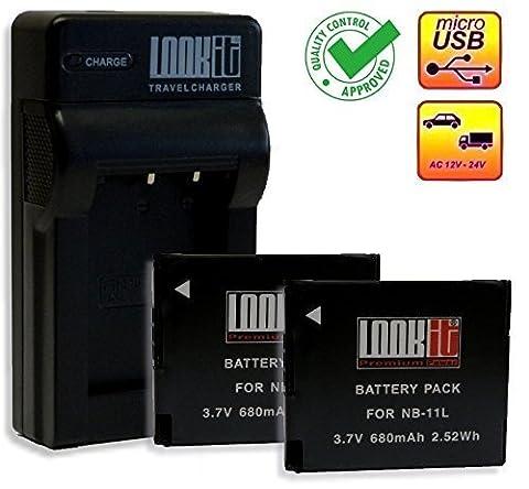 LOOKit® Set - 3in1 Chargeur + 2x LOOKit Premium NB-11L