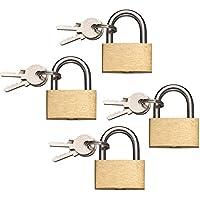 com-four® 4X Cadenas Laiton, 30mm, avec 3 clés (04 pièces - 30 mm)