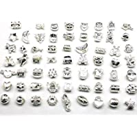 8fc938b9a Nambeads 10 x Mixed Shiny Silver plated Charms to fit Pandora style charm  bracelets