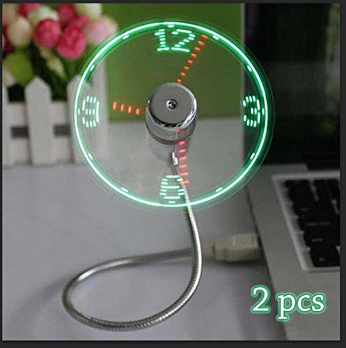 Portable Souple USB Horloge Ventilateur Avec Lumière LED Affichage Temps Réel Pour PC Portable