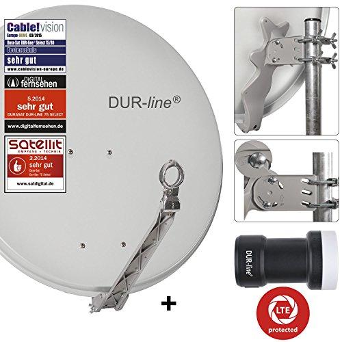 DUR-line 1 Teilnehmer Set - Qualitäts-Alu-Sat-Anlage - Select 75/80cm Spiegel/Schüssel Hellgrau + DUR-line Single LNB - Satelliten-Komplettanlage - für 1 Receiver/TV [Neuste Technik - DVB-S/S2, Full HD, 4K/UHD, 3D]