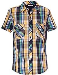 Naughty Ninos Boys Cotton Yellow Checkered Short Sleeve Shirt For 2 to 14 Years