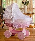 ComfortBaby ® Snuggly Baby Stubenwagen mit Moskitonetz - komplette 'all inclusive' Ausstattung - Zertifiziert & Sicher (Rosa-Weiß)