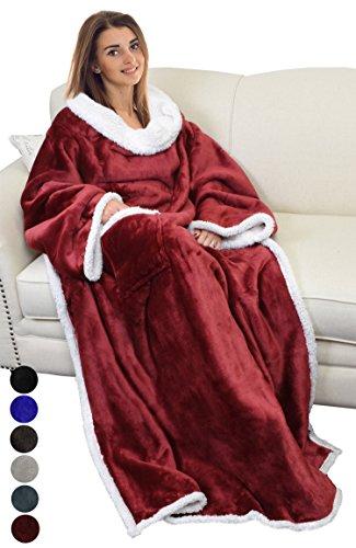 Catalonia TV-Decke Kuscheldecke ganzkörperdecke mit Ärmeln und Taschen zweiseitige Decke Microplush Fleece Sherpa Warme Decken für Erwachsene Frauen Männer Erwachsene 183cm x 140cm, Wein