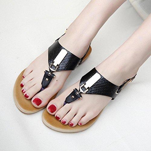 Webla Frauen Metall Dekoration Gürtelschnalle Strap Flip Beach Wedge Sandalen Schuhe Black