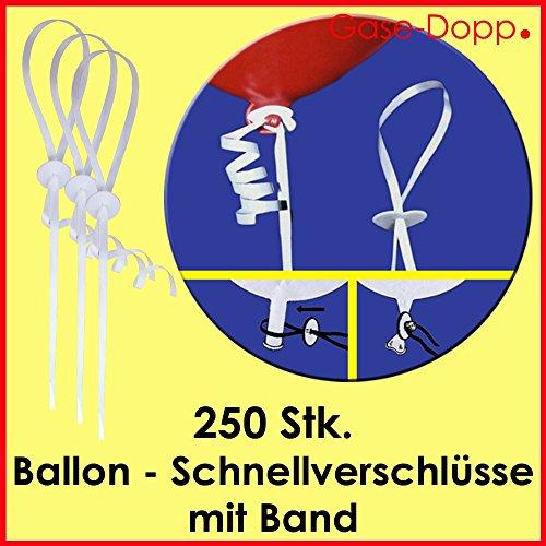 Preisvergleich Produktbild Ballon Schnellverschlüsse mit Band 250 Stk - für Luftballons zum befüllen mit Ballongas / Helium oder Luft - Ein Produkt von Gase Dopp