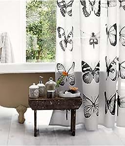 Tissu imperméable rideau de douche Motif Papillon et libellule en noir et blanc