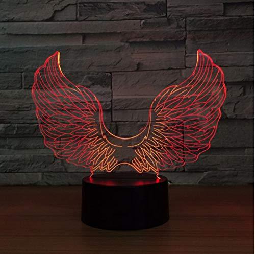 Lampada LED Angel Wing 3D USB Powered Colorful Touch 3D Night Light Lampada da tavolo da scrivania Baby Sleepping Light Bambini I miglio