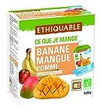 Ethiquable Fruta Bebible Manzana, Mango y Plátano Bio - Paquete de 4 x 90 gr - Totale: 360 gr