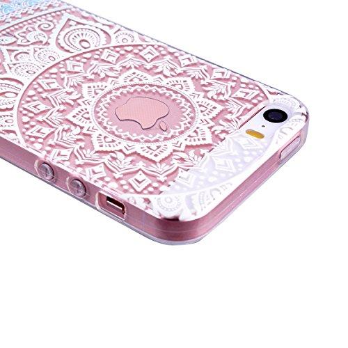 Für iPhone SE Weich Hülle, iPhone 5 5S Handytasche, SMART LEGEND Weiche Silikon Schutzhülle klar Transparent Handyhülle mit Mandala Muster Tasche Indische Sonne Design TPU Ramen Crystal Bumper Neu Zub Blau