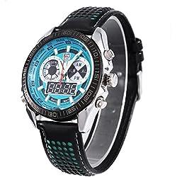 Leopard Shop TVG 568 Digital Military Wristwatch Quartz Double Movt Men Watch Day Alarm Leather Band Luminous LED Display Chronograph Green