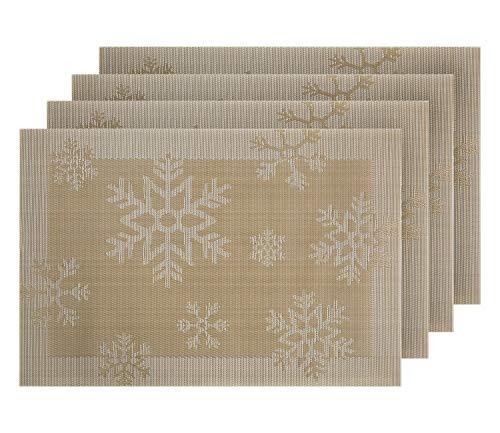 Deconovo Tischsets Abwaschbar Platzmatten Kunststoff Tischmatten Weihnachten deko 30x45 cm Schneeflocken Gold 4er Set