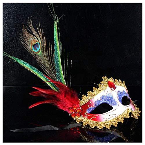 dig Premium Seite Pfau Ball Dance Maske Weibliche Erwachsene Feder Maske Kostüm Party Requisiten (Color : Red) ()