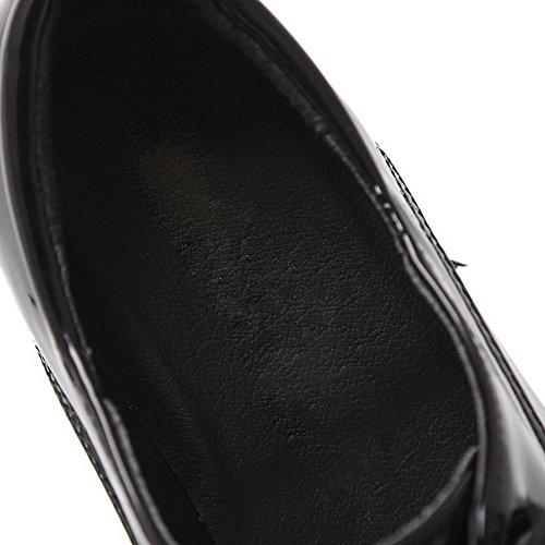 VogueZone009 Femme Verni Lacet Carré à Talon Haut Couleur Unie Chaussures Légeres Noir