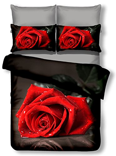 DecoKing 00977 Bettwäsche 200x200 cm mit 2 Kissenbezügen 80x80 schwarz 3D Microfaser Bettbezug Rosa Blumenmuster rot bordeaux Carmin - Rot Bettbezug