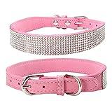 Balock Schuhe Pet Puppy Dog Kragen,Einstellbare Leder Niet Halsband,Spiked Studded Welpen-Hundehalsband-Halsband,für Mittelgroße Hunde (Rosa, L)
