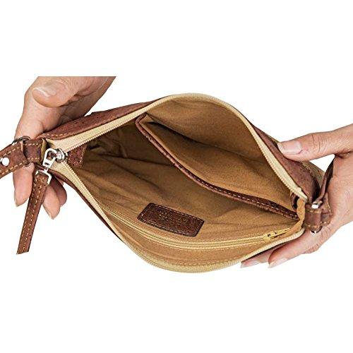 CORKOR Damen Umhängetasche Geldbeutel Schultertaschen Handtasche Schulter Natur-Leder Natur Veganer Korkleder Rot - 4