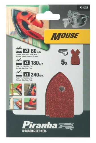 Piranha Mouse Schleifpapier Sortiment (Körnung je 2 x 80, 180, 1 x 240, KlettFix, 5 Stück) X31024