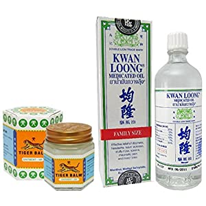 Tiger Balm White Ointment 30 GM/Jar + Kwan Loong Medicated Oil 57 ml (Largest Size.)