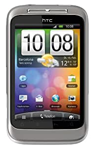 HTC Wildfire S Smartphone (8.1 cm (3.2 Zoll) Touchscreen, WiFi (b/g/n), Android OS 2.3.3) weiß/silber
