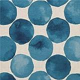 Kokka Naturfarbenes Mischgewebe mit blauen Kreisen
