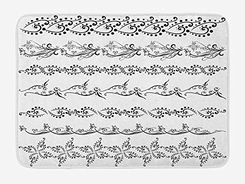 OQUYCZ Henna Bath Mat, Fantasy Spring Blossoms Abstract Display Traditional Borders Collection Monochrome, Plush Bathroom Decor Mat with Non Slip Backing, 23.6 W X 15.7 W Inches, Black White -