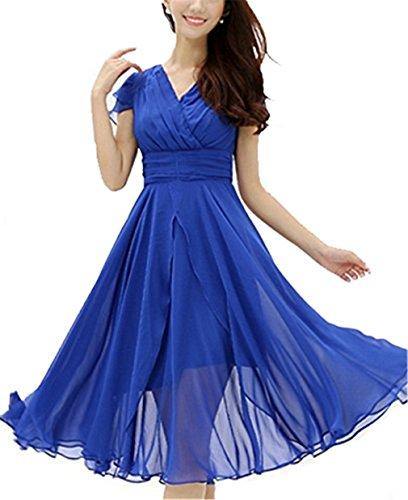Hengsong Femme élégant Robe de soirée Slim Cintré Manches courtes Mousseline de soie Robe Bleu-marine