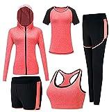 Frauen sexy Sport Anzug, elastische schnell trocknende Yoga Kleidung Fitness-Studio Fitness-Kleidung Frauen Sport-Jacke Sport-BH Sport-Kurzarm-Sport-Shorts Sport-Hosen 5 Sätze