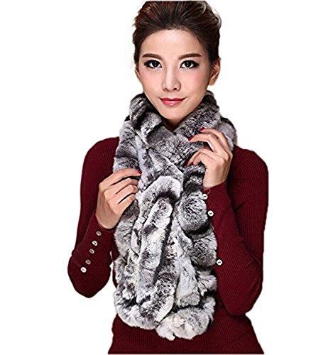 MEEFUR Frauen Real Rex Kaninchen Pelz Schals Winter Lange Wraps Warm Halstuch Chinchilla OneSize -