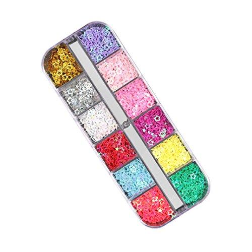 YUYOUG 12 Pcs Couleurs Nail Art Étoile Conseils Stickers Paillettes 3D Paillettes Manucure DIY (❤️ A)