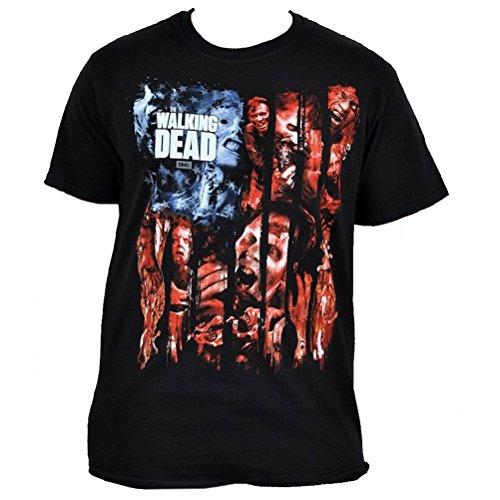 The Walking Dead - T-shirt con motivo stampa zombie e logo - Maglia con licenza ufficiale tratta dalla serie TV horror AMC - Girocollo - Nero - L
