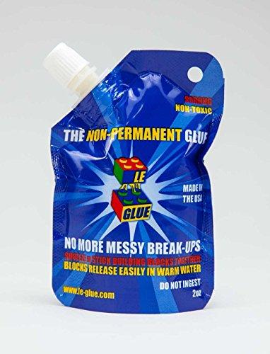 Le-Glue - colle temporaire pour LEGO, Mega Blocks, Nano Blocks et tout type de brique. Idéal pour les enfants! Non toxique! Fabriquée aux États-Unis!