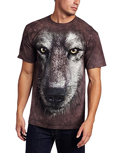 The Mountain Herren T-Shirt Big and Tall Wolf Face - Grau - 5X-Groß