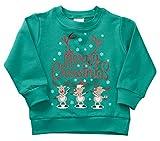 Kinder-Weihnachtspullover Gr. 74, Green Reindeer