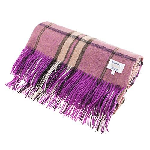 Edinburgh 100% Kaschmir, Design Scottish Tartan Teppich/Decke, THOMSON RASPBERRY, Einheitsgröße (Tartan Cashmere)