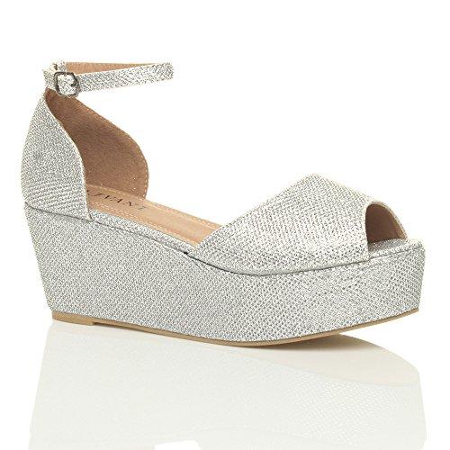 Femmes talon compensé moyen plate-forme sandales bout ouvert chaussures pointure Paillettes dargent