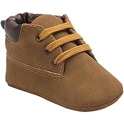 Koly_Scarpe in pelle molle del bambino Sole Bambino sveglio Shoes (Size:13=Age12~18M, Marrone)