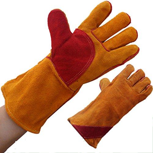ANHPI Schweißen Handschuhe Verlängerung Lange Absatz Vollleder Gelb + Rot Pflege Dauerhaft Tragen Schutzhandschuhe Länge 13 78 Zoll,Orange-Long35cm*Wide14cm (78 Tragen)