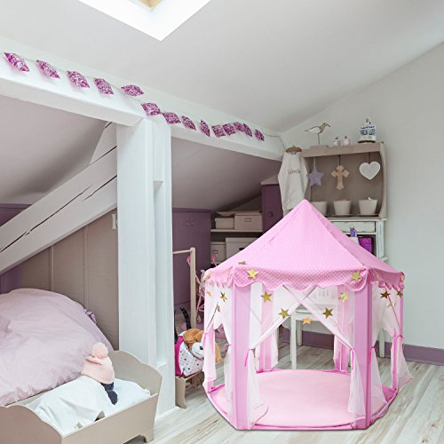 Outdoor Indoor Princess Castle Play Tents,Shayson Large Playhouse Kids For Festival Fairy Princess Castle Tent, Newest Design, Extra Large Room (play house tent single(pink))