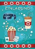 8 Einladungskarten Kindergeburtstag Mädchen Jungen Kino Jungs Geburtstagseinladungen Einladungen Geburtstags Party Kartenset blau