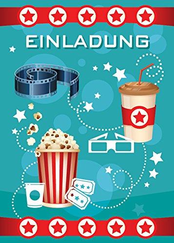 JuNa-Experten 12 Einladungskarten Kindergeburtstag Mädchen Jungen Kino Jungs Geburtstagseinladungen Einladungen Geburtstags Party Kartenset blau