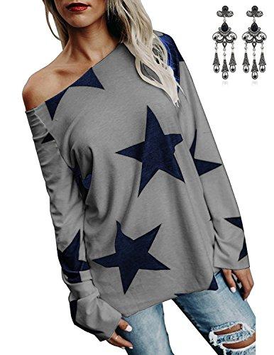 carinacoco Donna Camicia Monospalla Stelle Stampa Maglie a Manica Lunga Cotone Tunica Casuale Shirts Tops Loose Fit Sportswear Primavera Grigio