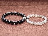 COAI Geschenkideen Yin und Yang Labradorit Schwarzer Onyx ein Paar Partner Armbänder