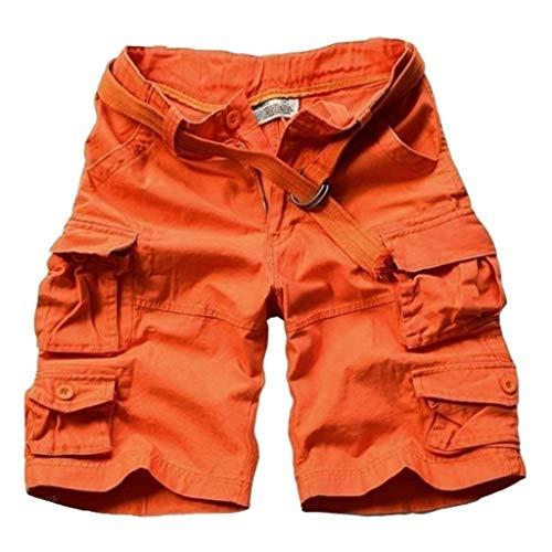 Xmiral Shorts Herren Einfarbig Cargohose Zipper-Taste Hose mit Gürtel Multi-Pocket Mehrere Farben Seil Werkzeug Tasche (Orange,L)