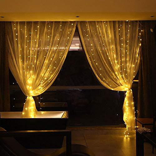 300 LED Fenster Vorhang Lichter Fairy Kupfer String Dekoration Lichter für Indoor outdoor, Schlafzimmer, Festival, Weihnachten, Hochzeit, Party, Halloween, DIY, Dekor(Warmweiß)
