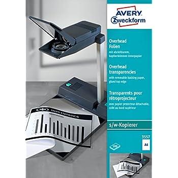 AVERY Zweckform 3553 Overhead-Folien A4, spezialbeschichtet, stapelverarbeitbar, 100 Blatt