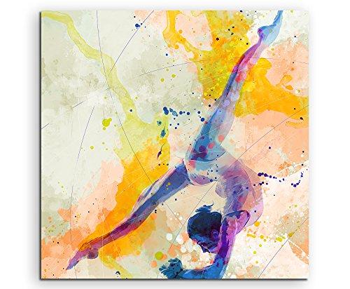 Turnen IV 60x60cm Wandbild SPORTBILD Aquarell Art Tolle Farben von Paul Sinus